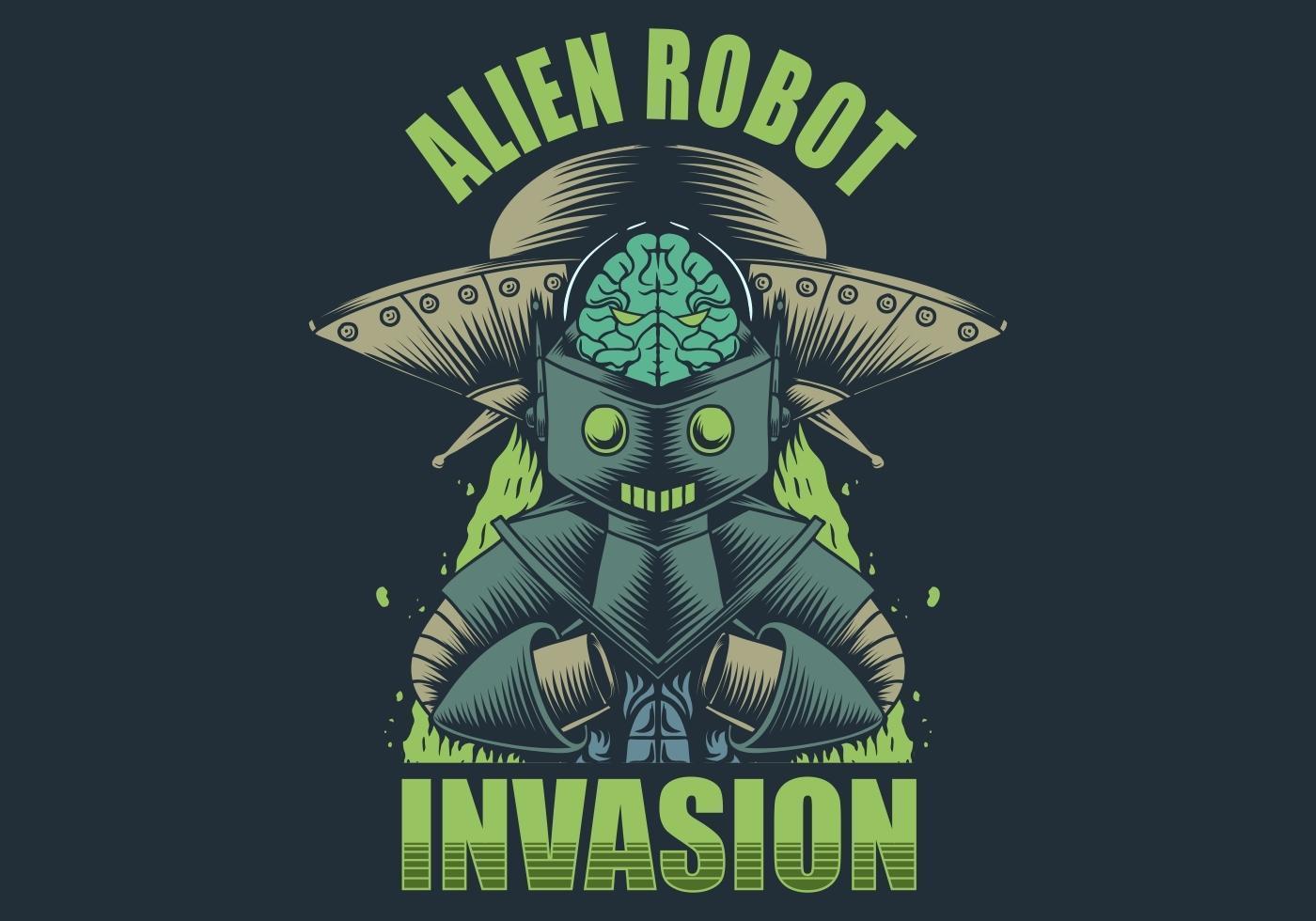 Alien Robot Invasion Illustration vector