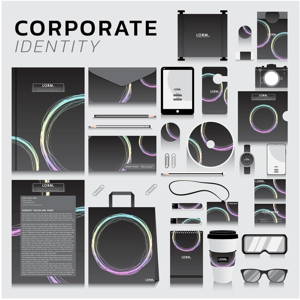 identità aziendale impostata con il design del cerchio pastello vettore