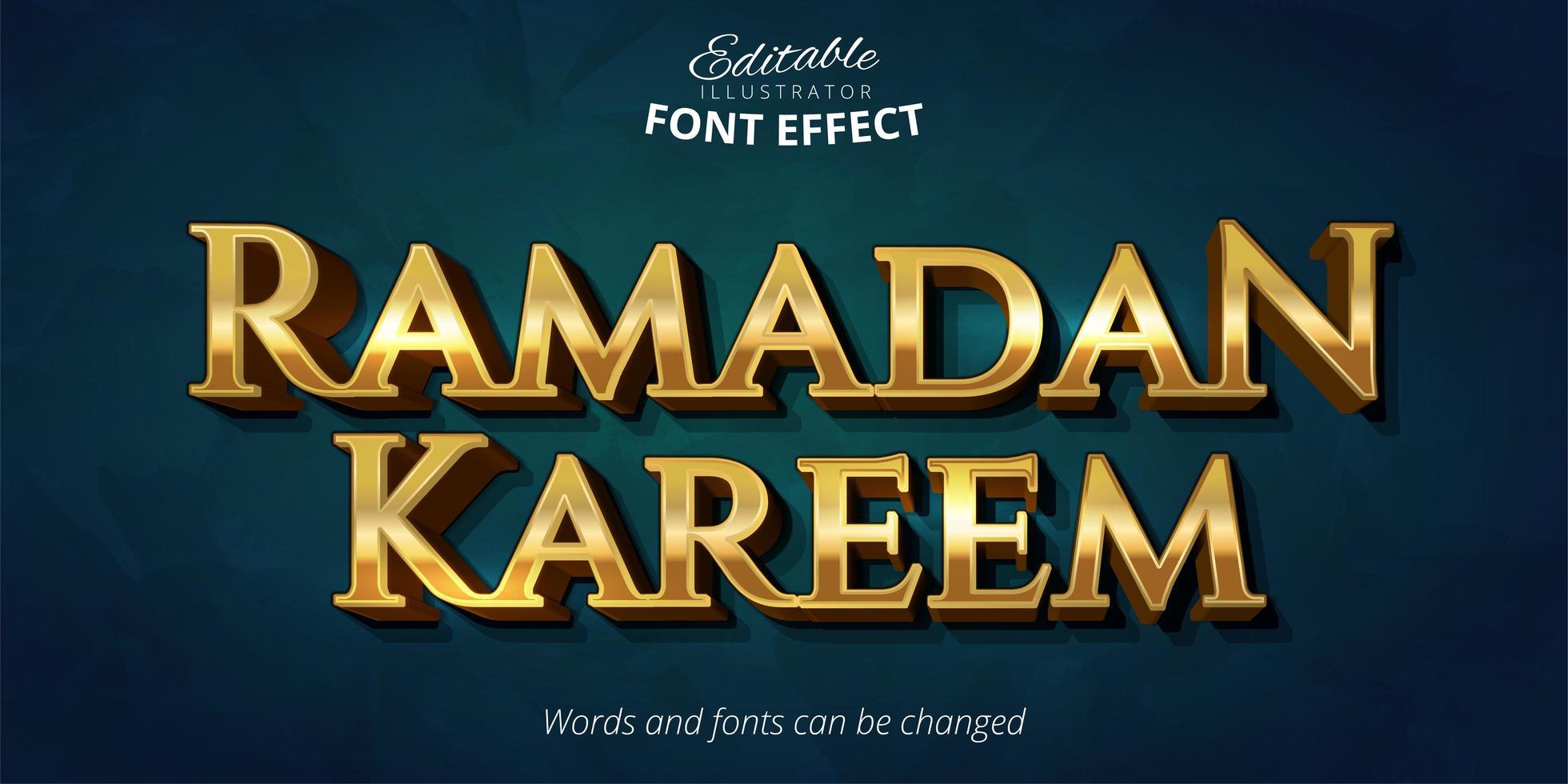 efecto de texto de oro brillante ramadan kareem vector