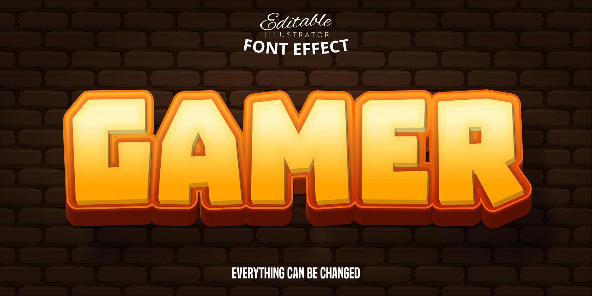 Gamer text, 3d editable font effect vector
