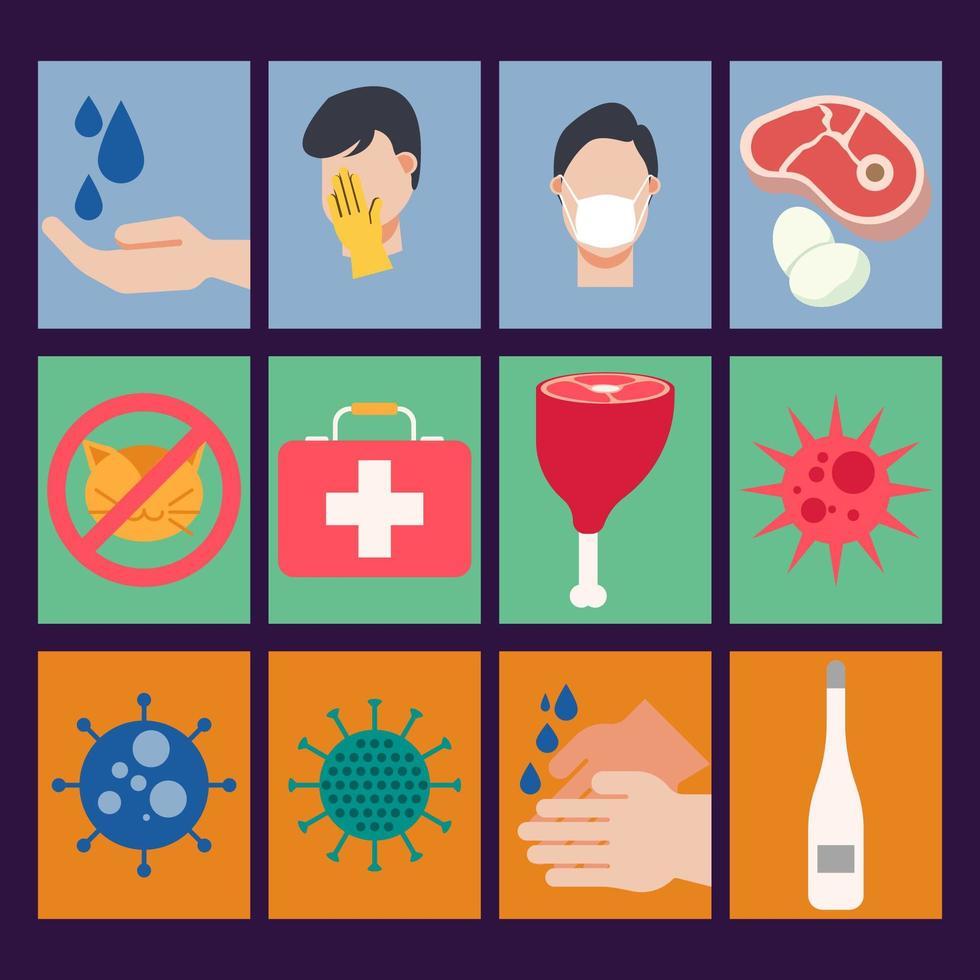 icono plana de pandemia de virus médicos vector
