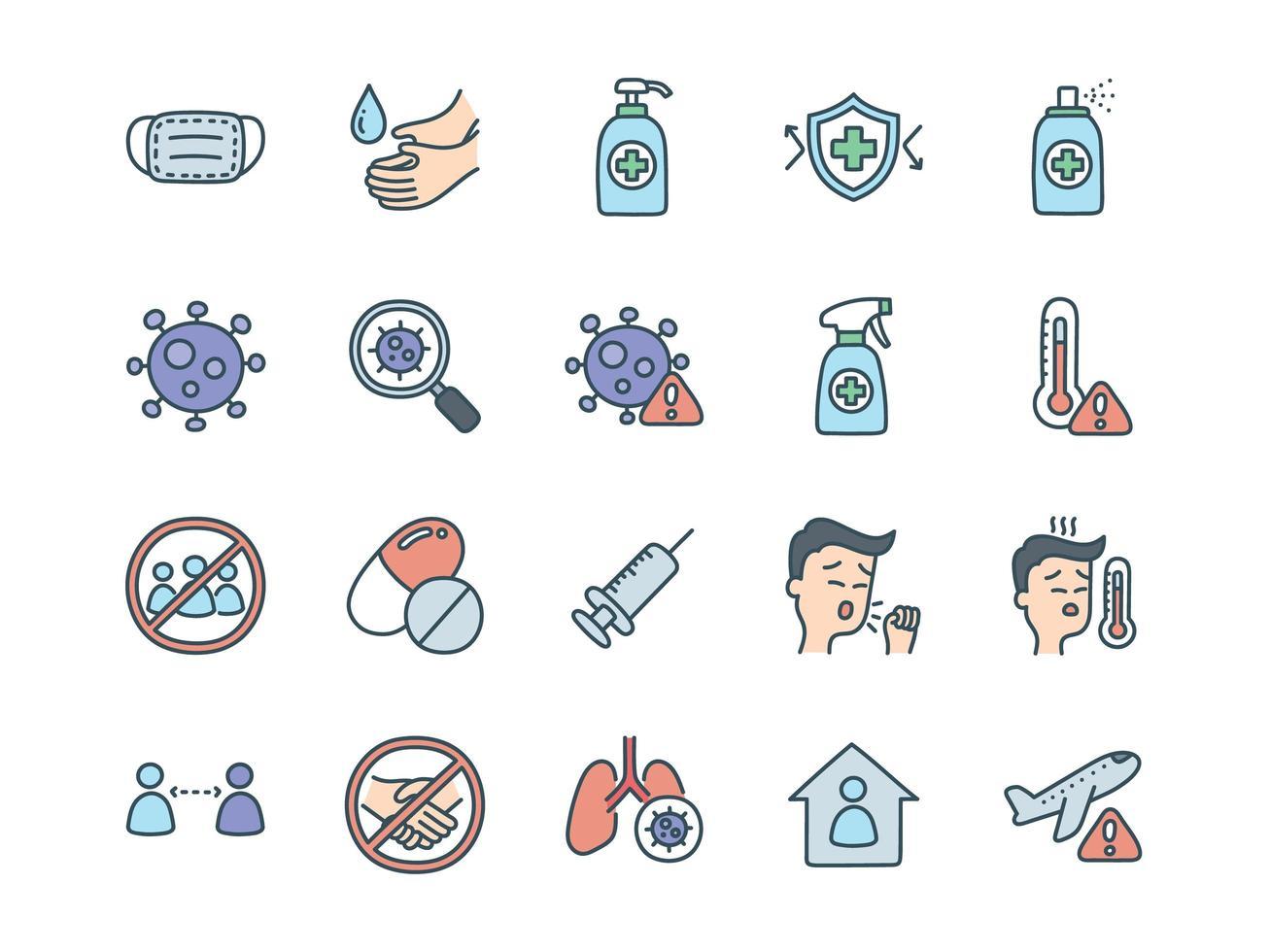 conjunto de iconos relacionados con coronavirus vector