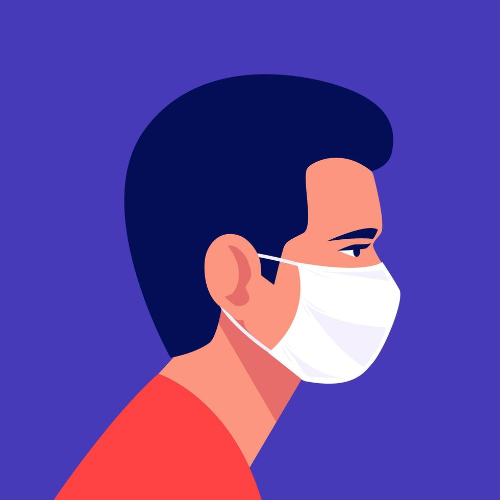 Man Wearing Disposable Medical Face Mask vector
