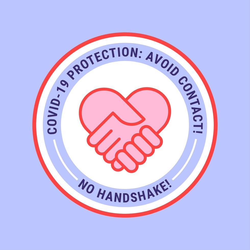nenhum distintivo de coração de aperto de mão vetor