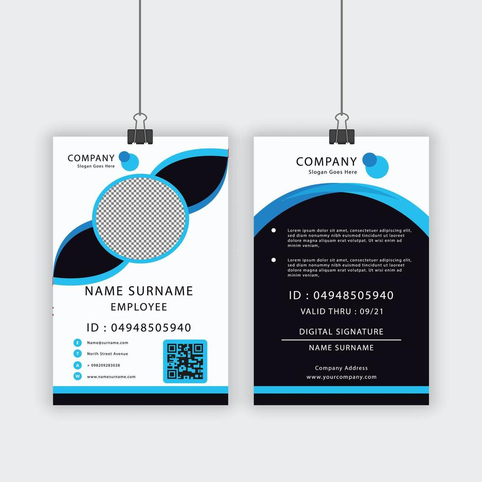 Blue and Blue Accent ID Template vector