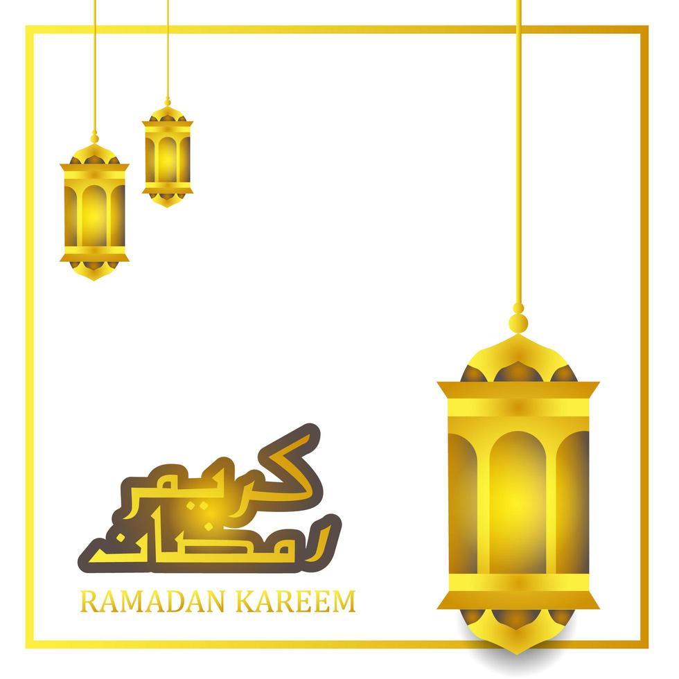 diseño de linterna de oro para la celebración de Ramadán Kareem vector