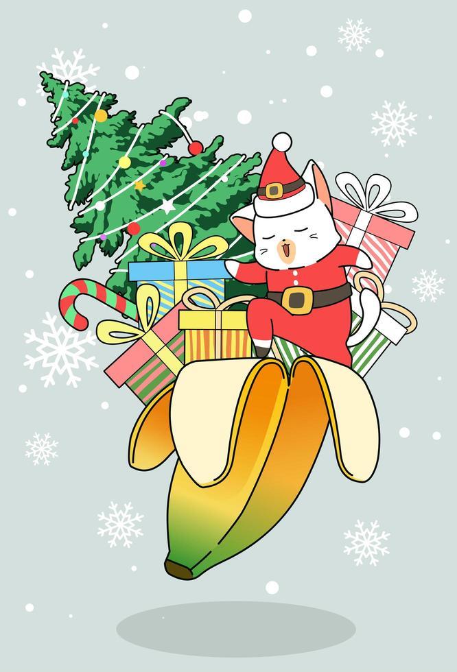 Papá Noel gato con regalos y árbol de navidad en cáscara de plátano vector