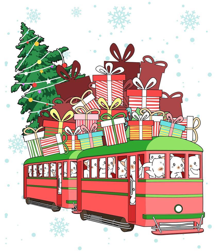 gatos montando en tren con regalos y árbol de navidad en la parte superior vector