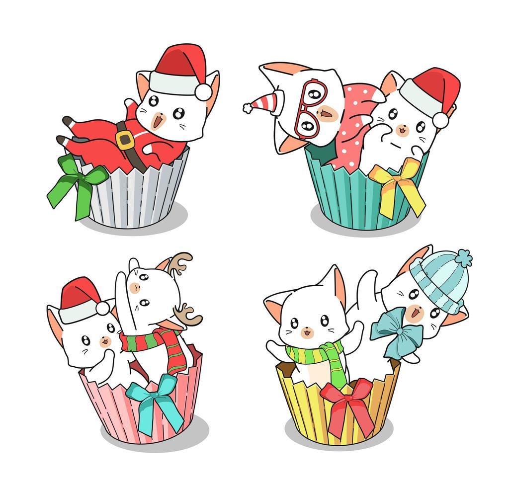 Conjunto de gatos navideños dibujados a mano en envoltorios de cupcakes vector