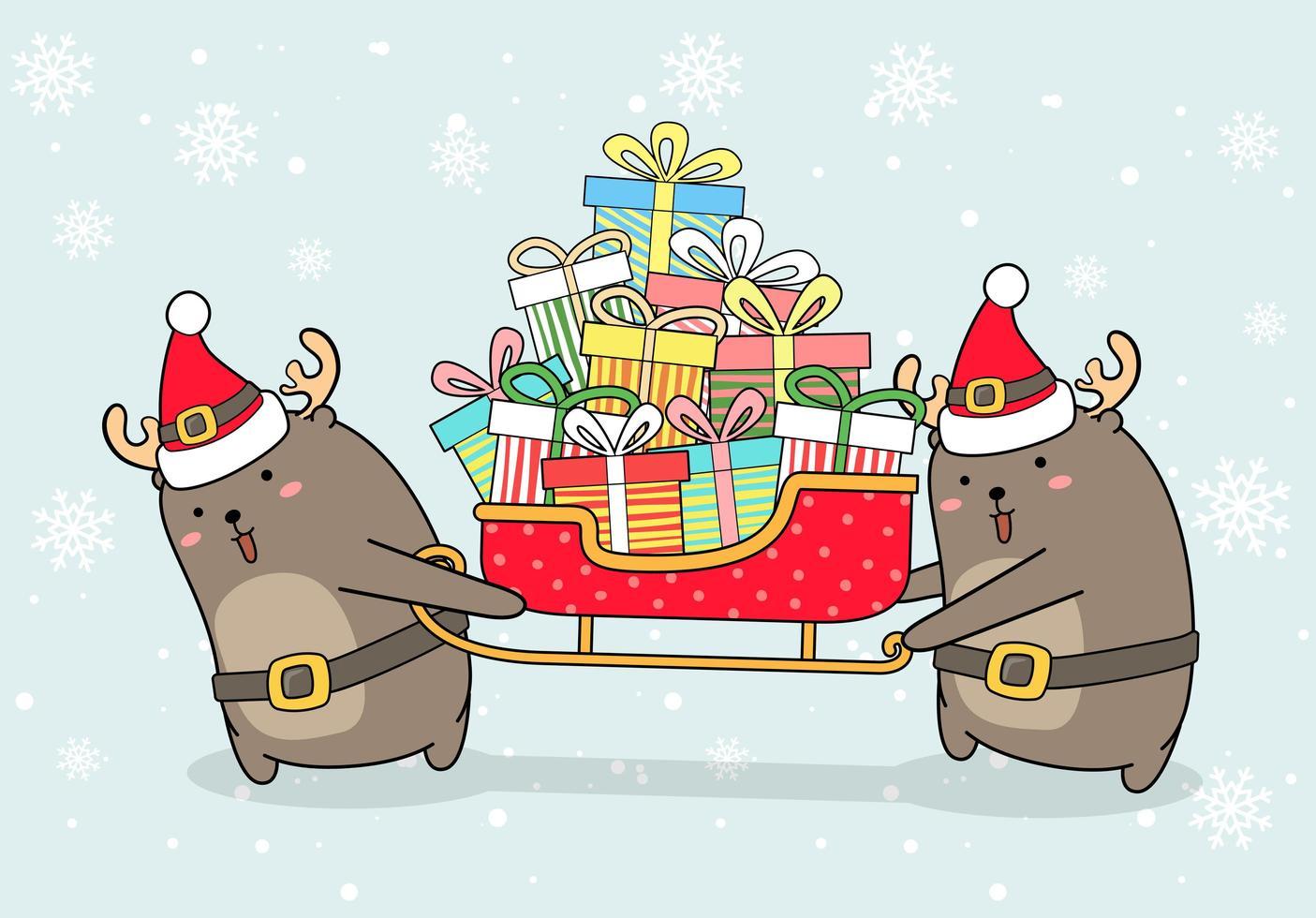 reno con trineo lleno de regalos vector