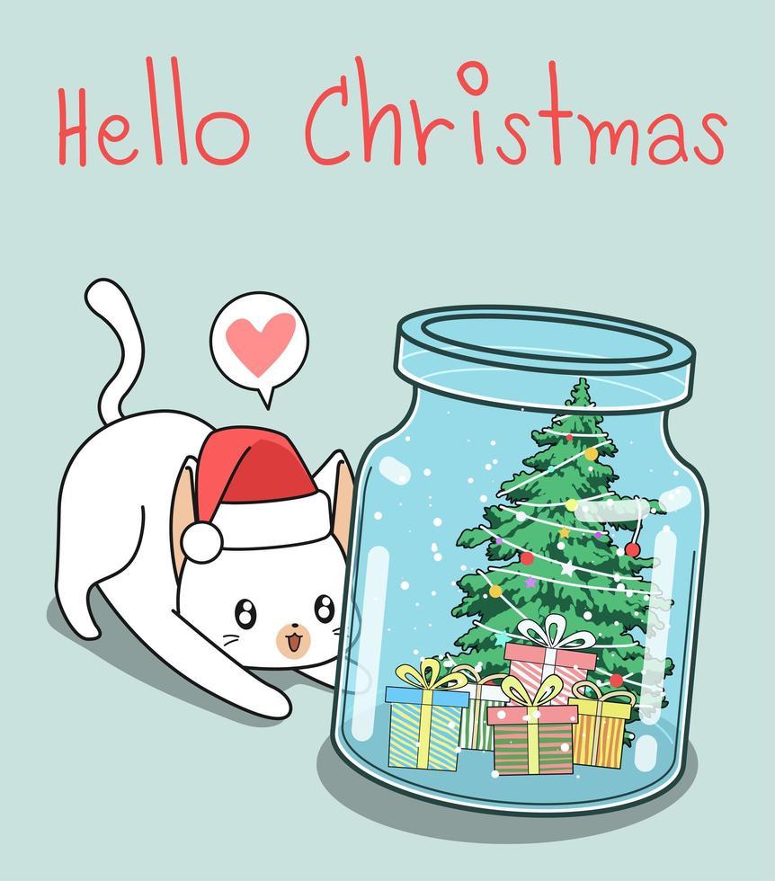 bonjour noël dans un fond de chat bouteille vecteur