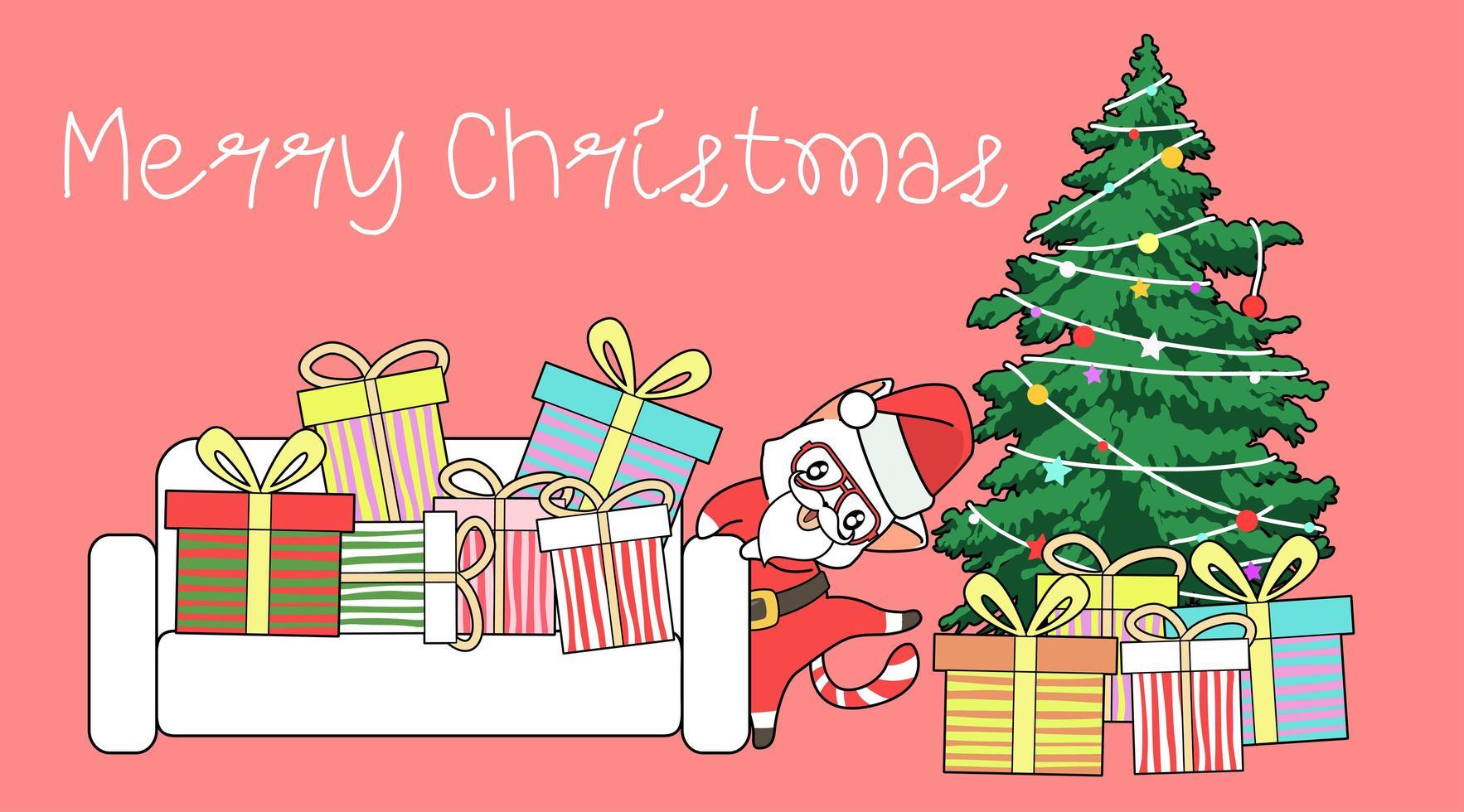 gato de Papá Noel bailando alrededor del árbol de navidad y regalos vector