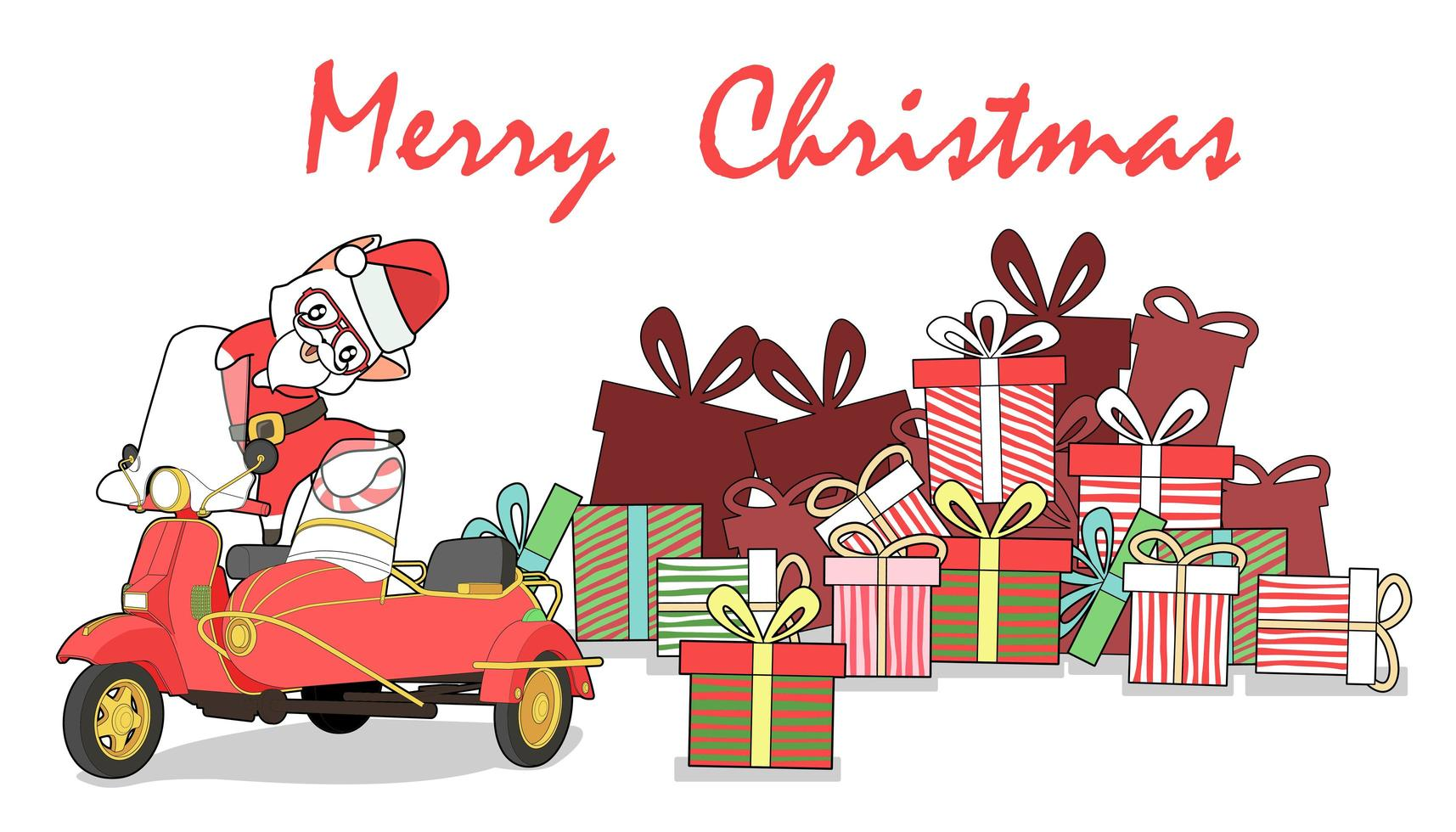 dibujado a mano gato de santa claus feliz navidad saludo diseño vector