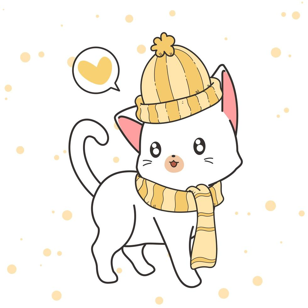 gato desenhado de mão usando um chapéu e cachecol vetor