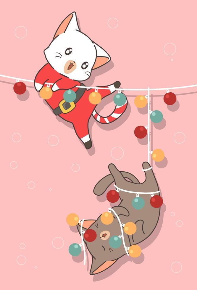 adorables gatos con luz en el día de navidad vector