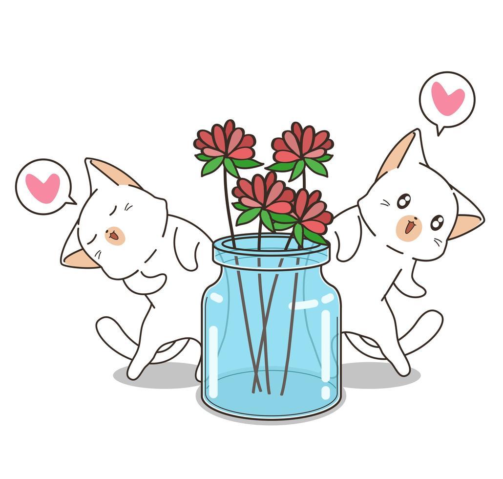 gatos dibujados a mano con flores en frasco vector
