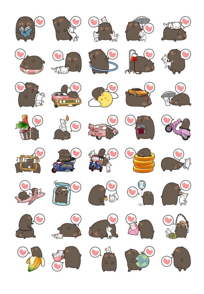 coleção adorável ícone urso e gato vetor