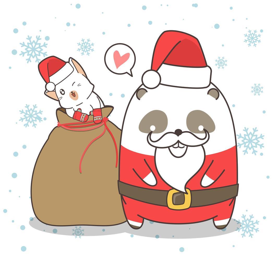 Sweet Panda Santa With Friend vector