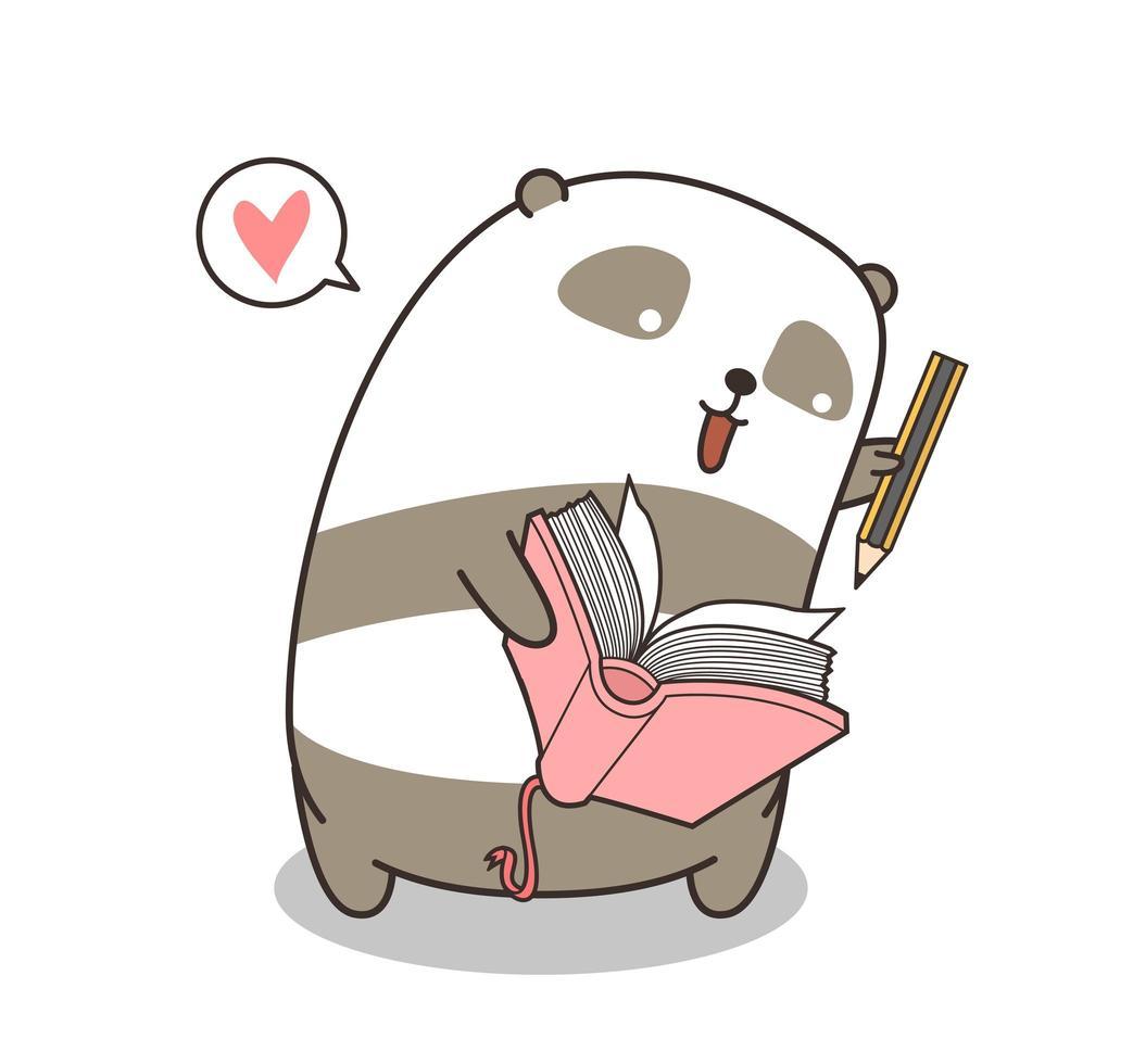 adorabile panda che scrive nel libro vettore