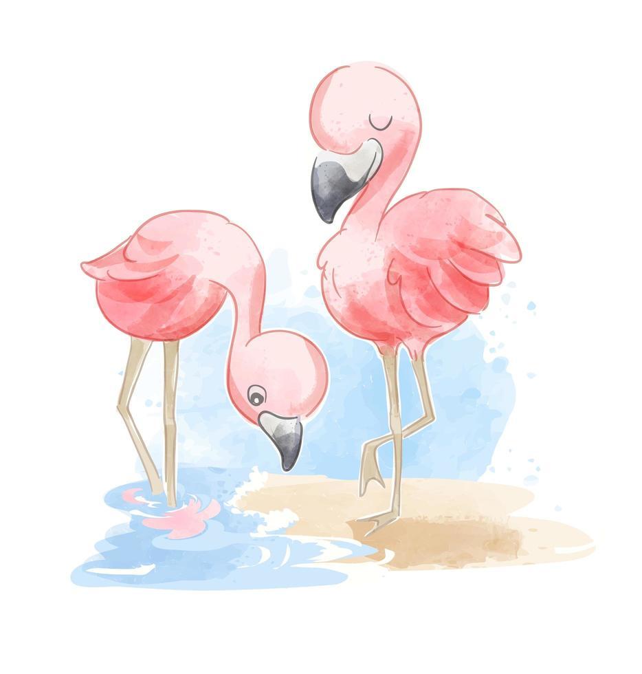 linda pareja de flamencos en la playa vector