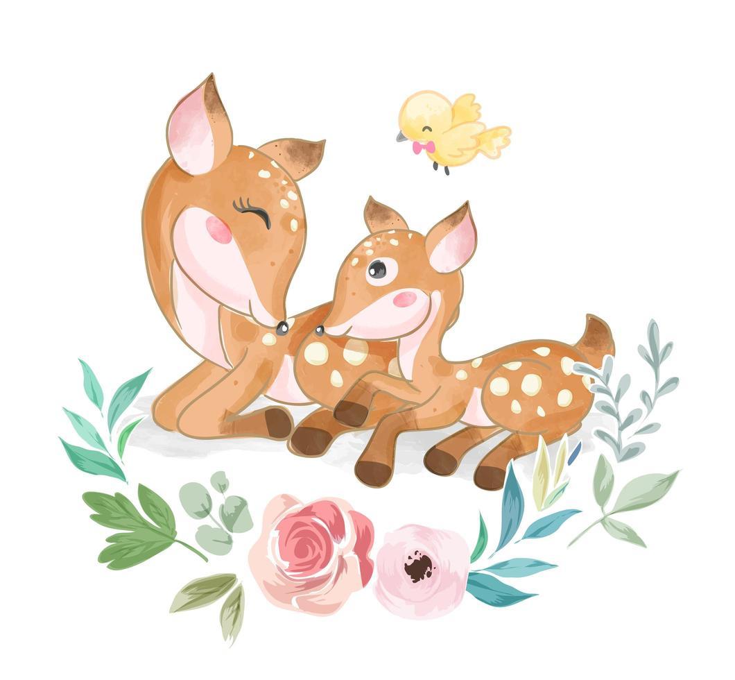 linda familia de ciervos animales con pajarito vector