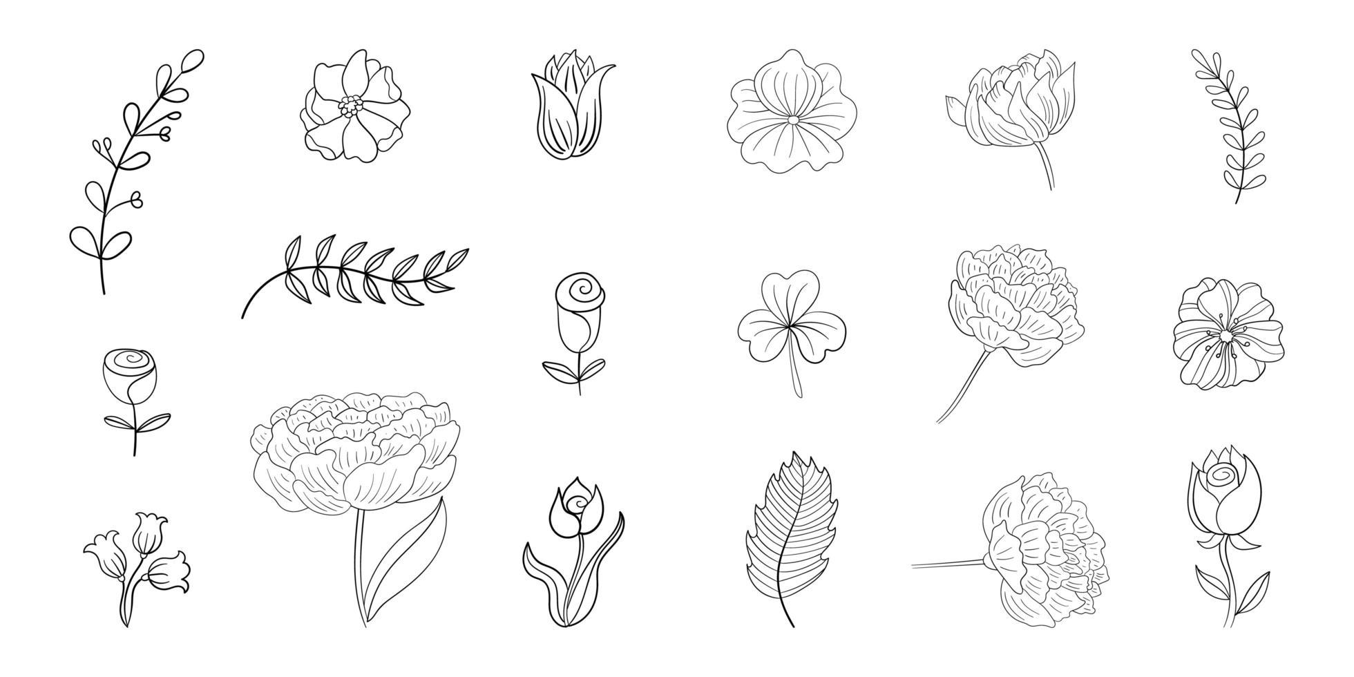 Set of Simple Flower Line Doodles  vector