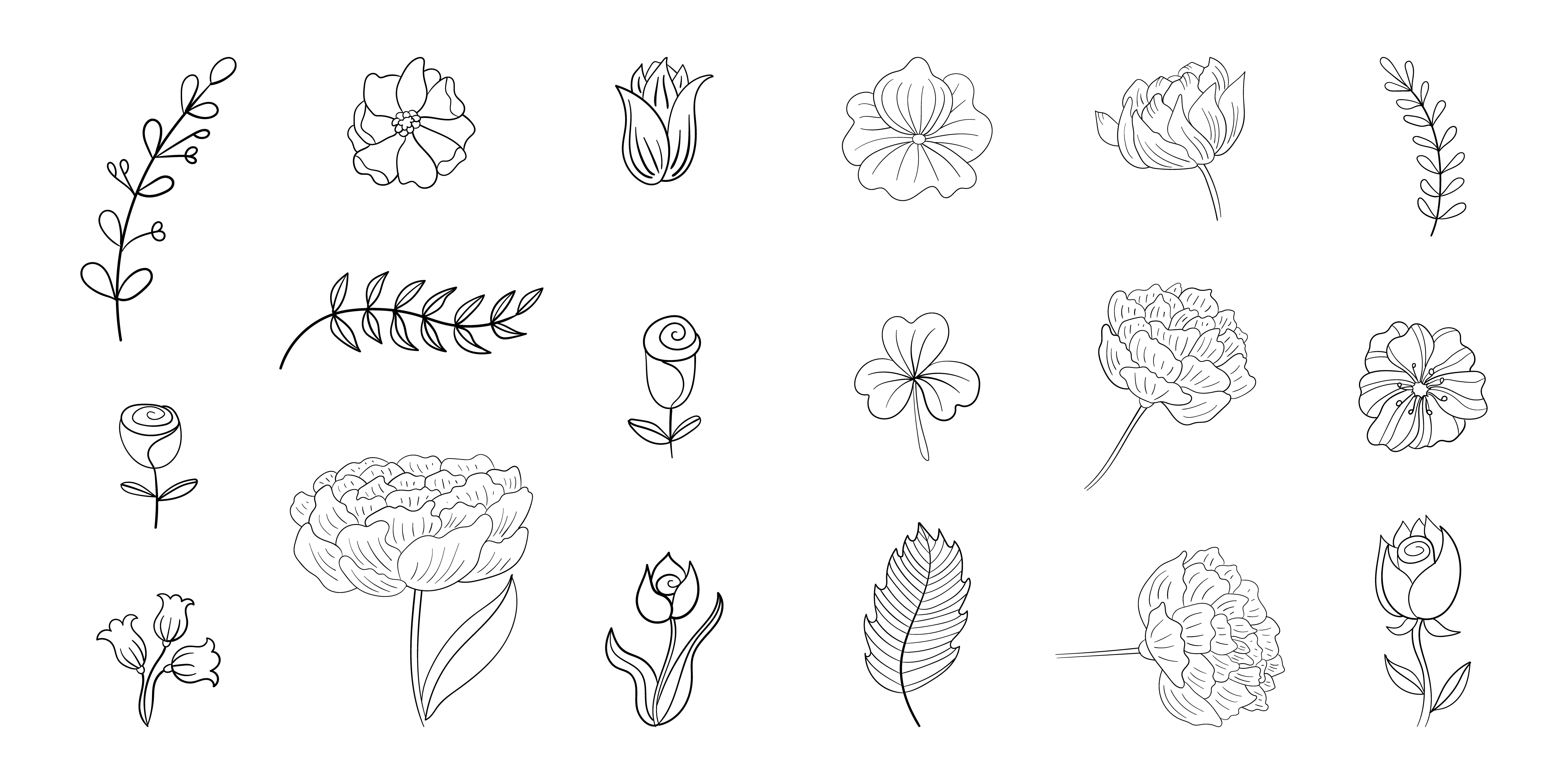 Set Of Simple Flower Line Doodles Download Free Vectors Clipart Graphics Vector Art