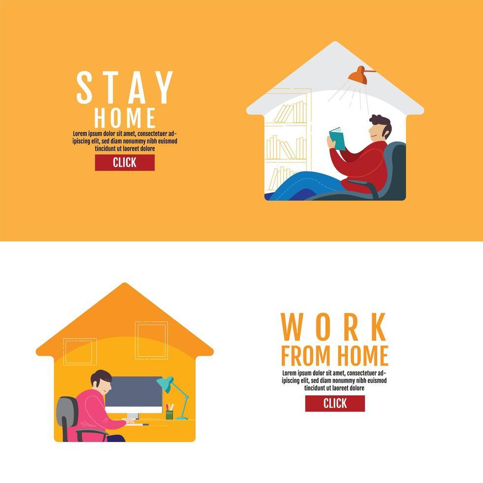 quedarse en casa trabajar desde casa poster vector