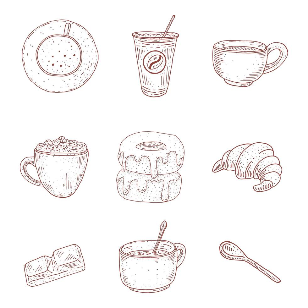 Vintage Coffee and Desserts Hand Drawn Set vector