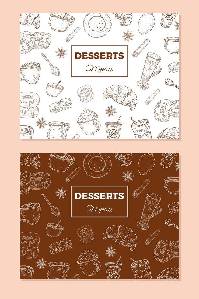 Vintage Dessert Menu Template vector