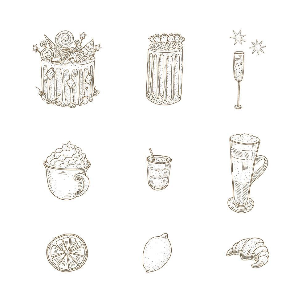 Vintage Dessert and Drinks Set  vector