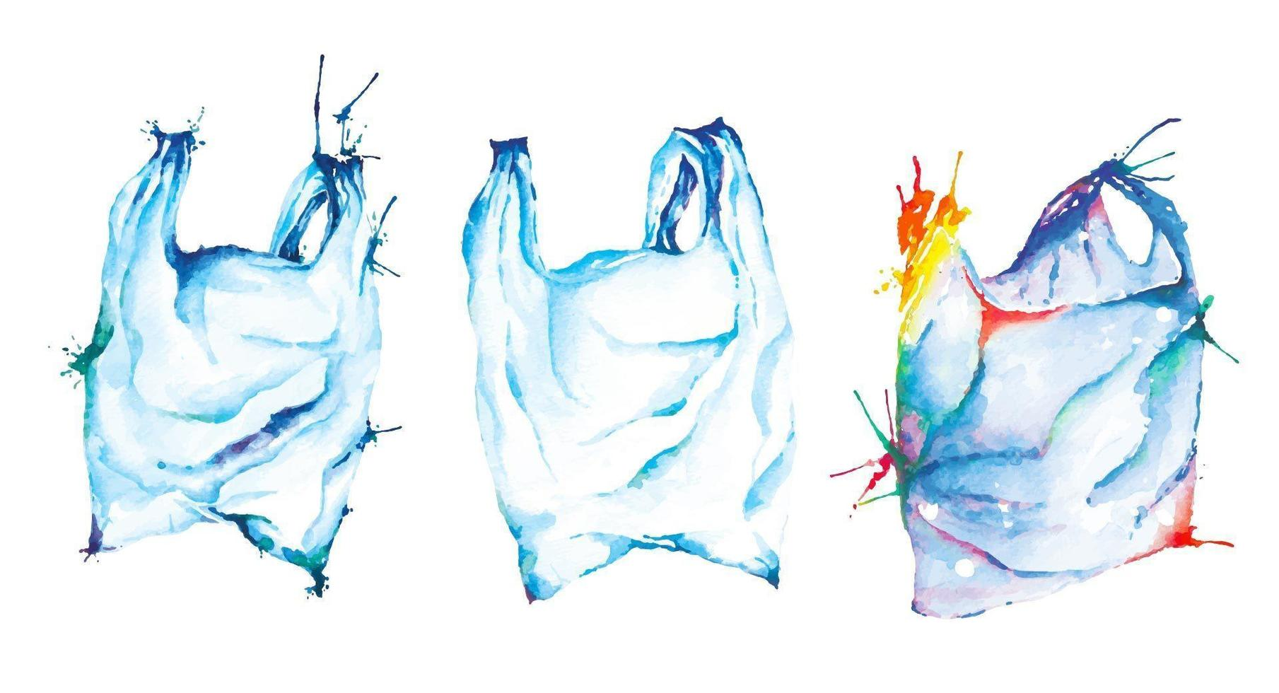 Plastic Bags Painted With Watercolors vector