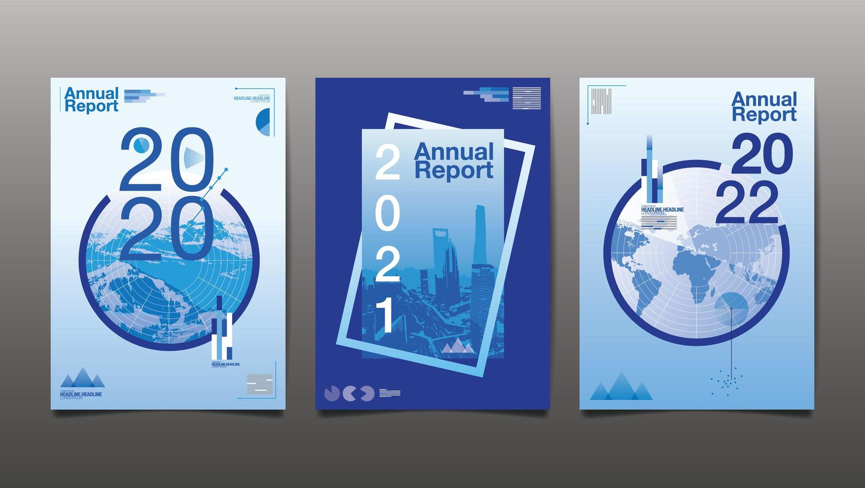 Set of There Blue Annual Report Covers  vector