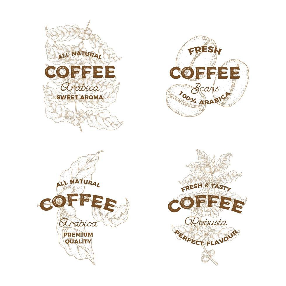 set di loghi caffè vintage vettore