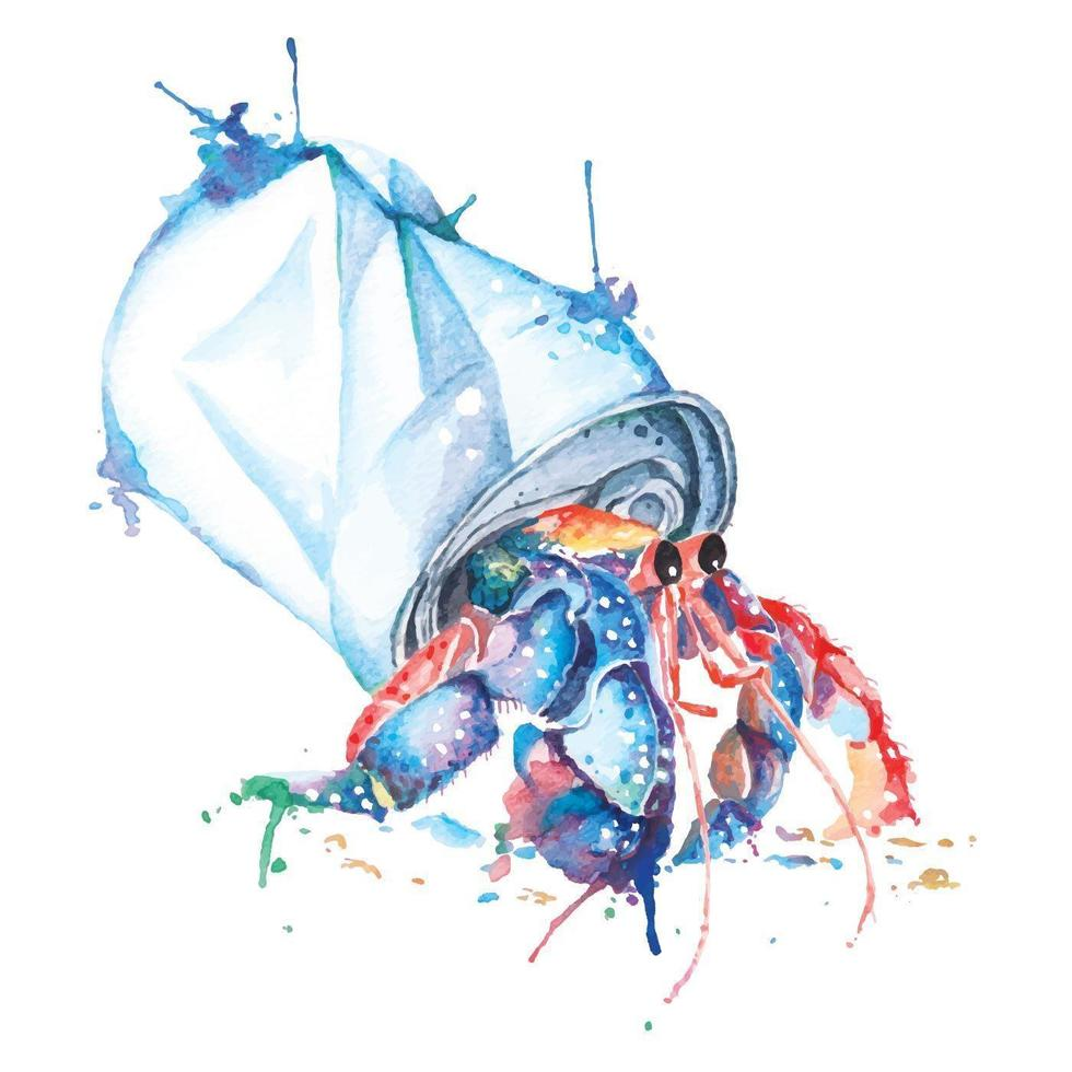 Watercolor Hermit Crabs Painted in Can vector