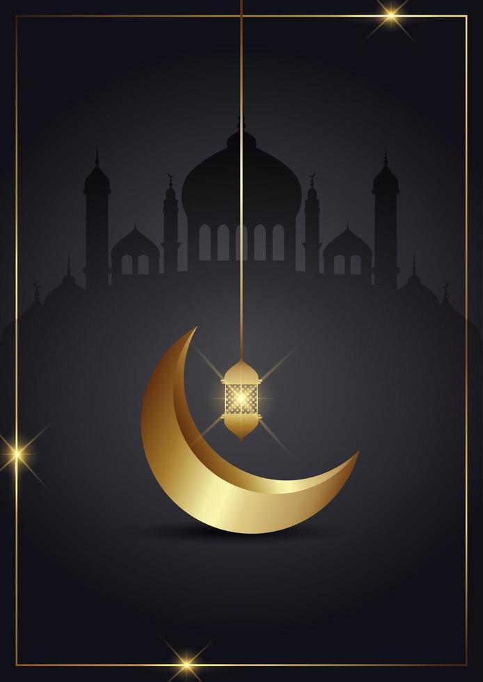 Ramadan kareem gold crescent vector