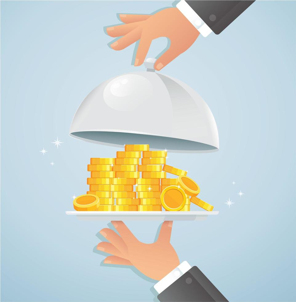 Silver cloche with money vector