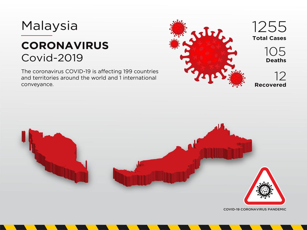 Malaysia Affected Country Map of Coronavirus vector