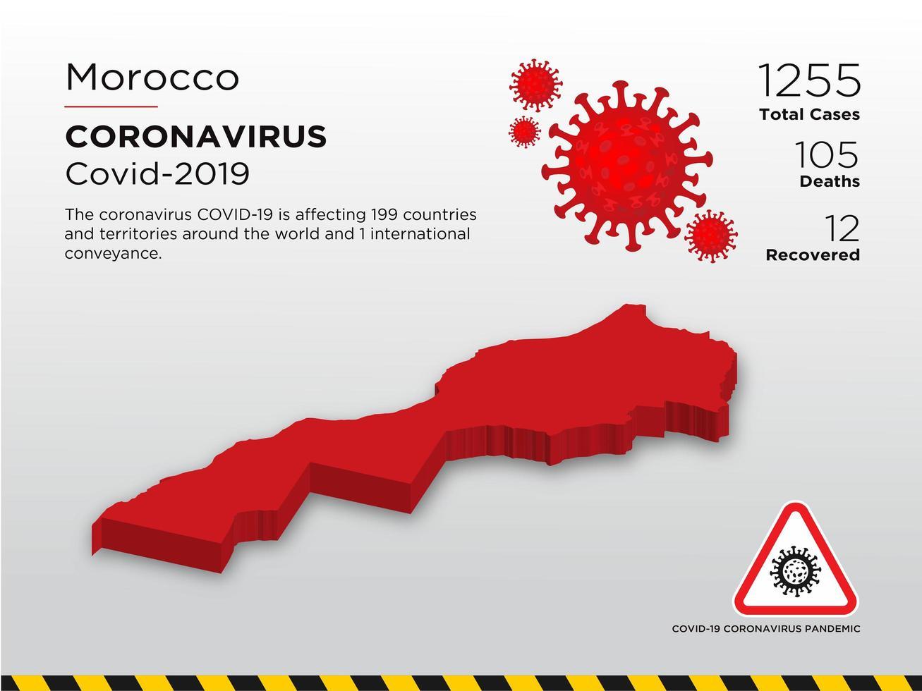 Maroc carte du pays touché par le coronavirus vecteur
