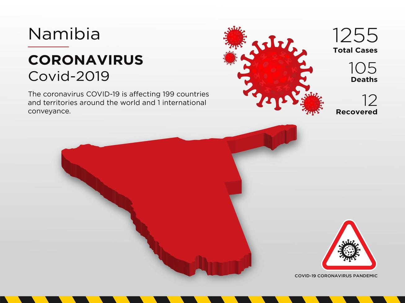 Namibia Affected Country Map of Coronavirus vector