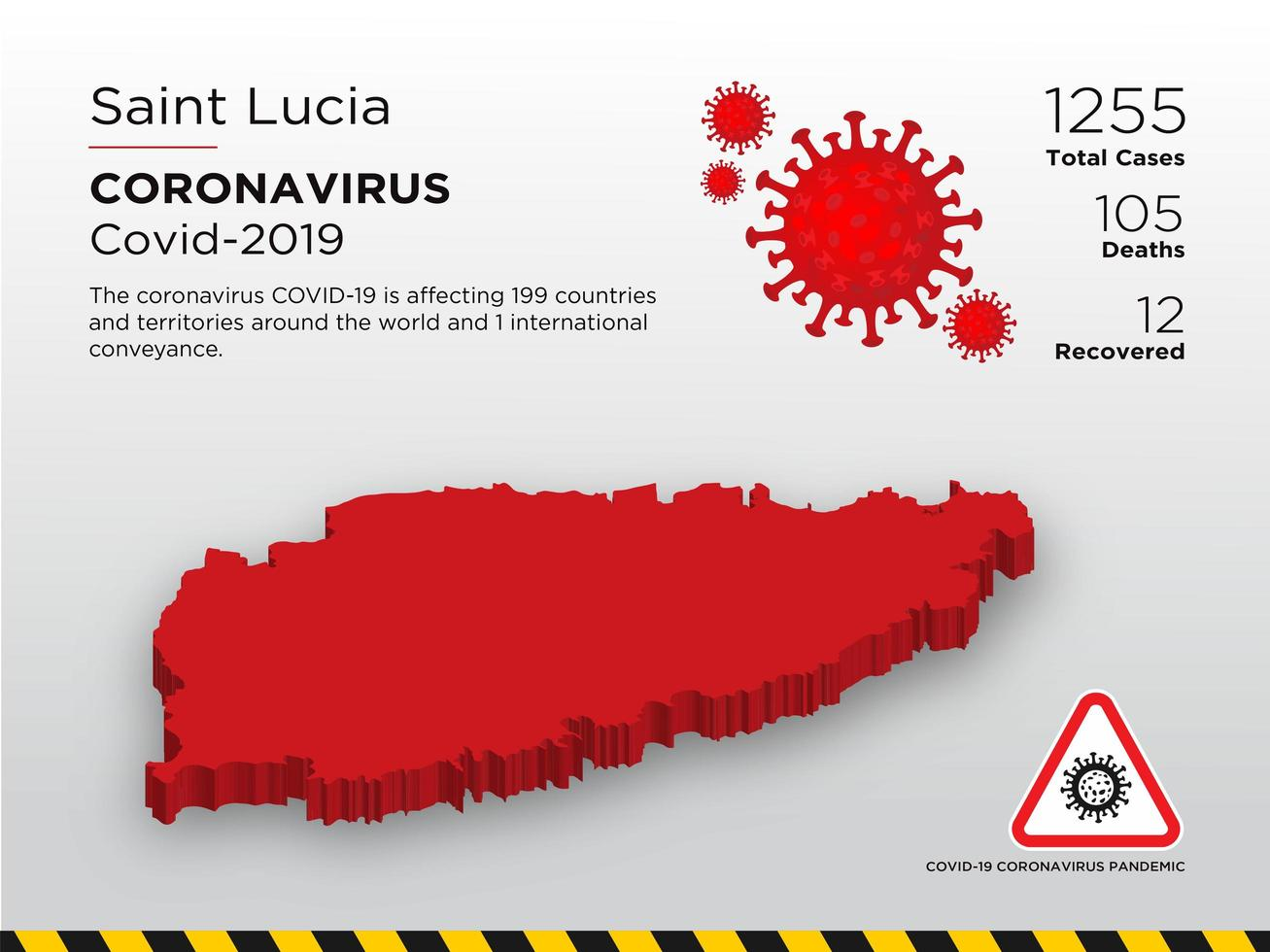 Saint Lucia Affected Country Map of Coronavirus vector