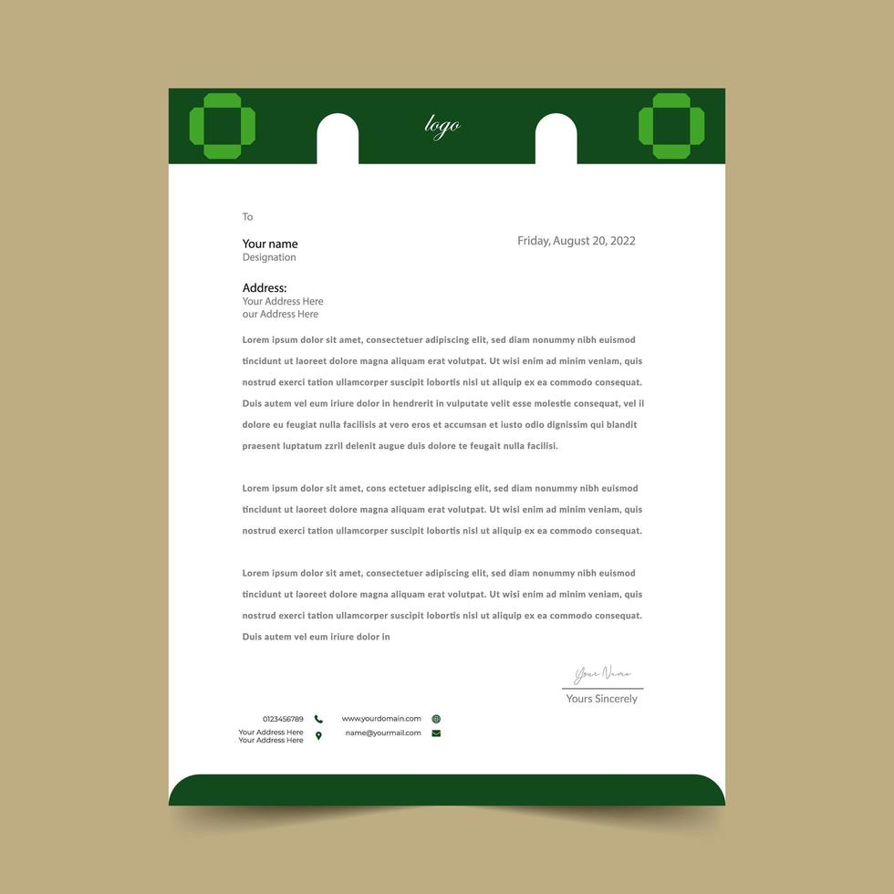 Green Simple Geometric Shapes Letterhead vector