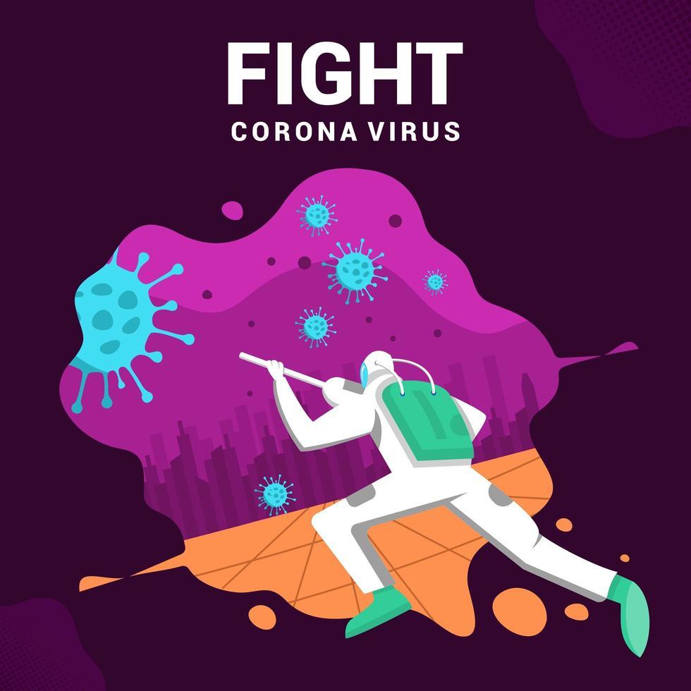 cartaz de combate ao vírus corona de homem vetor