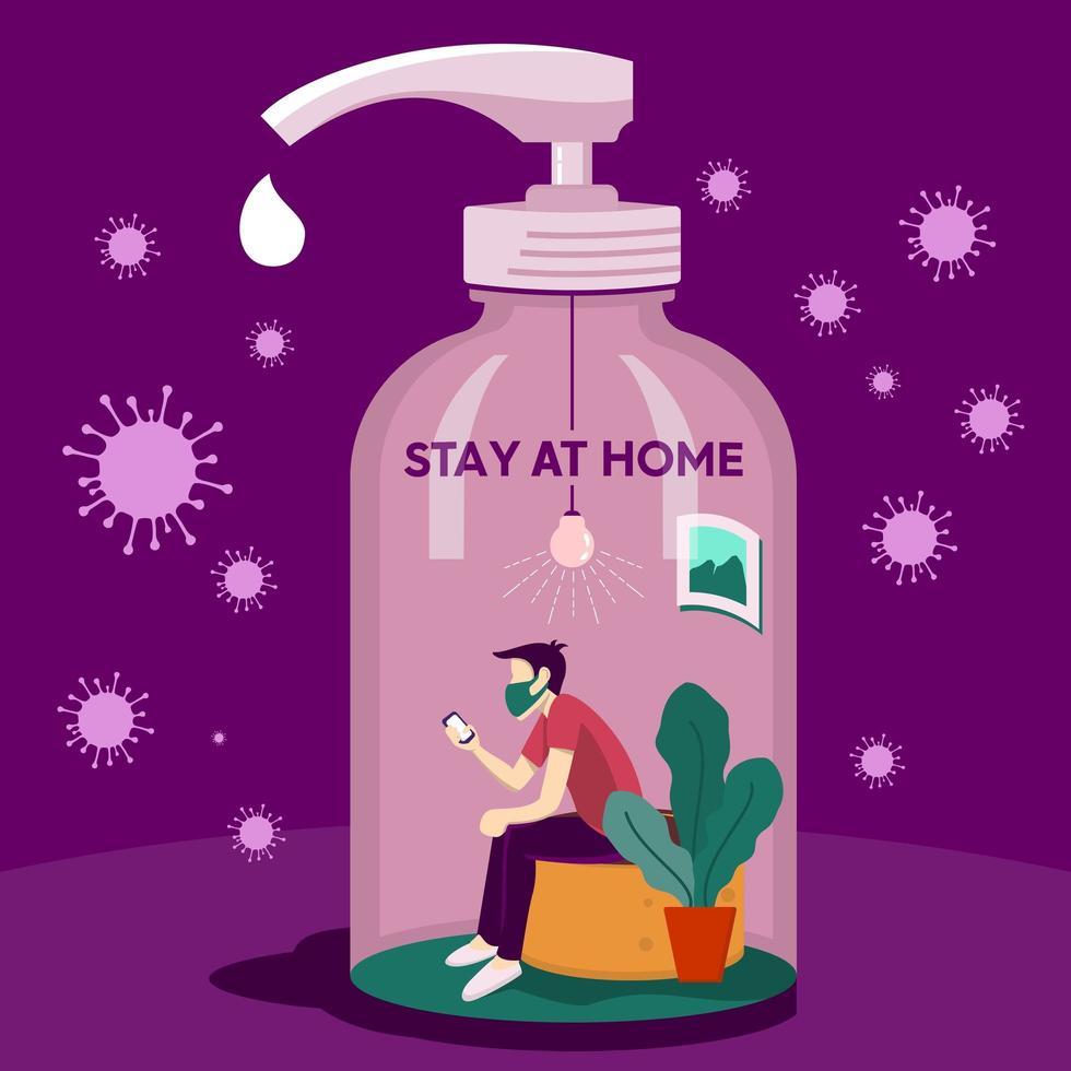 Cartel de virus corona con hombre en botella de jabón vector