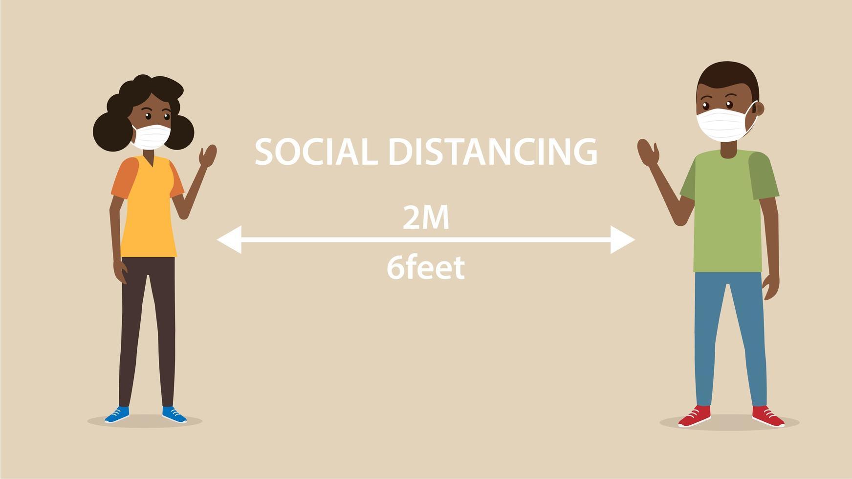 distanciamiento social hombre y mujer afroamericanos vector
