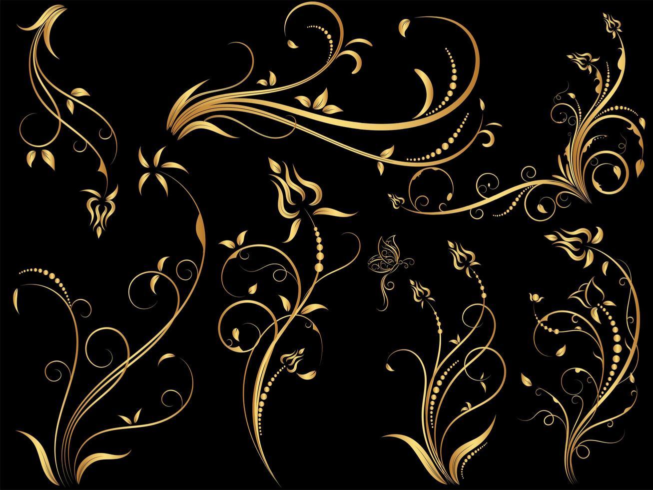 Set of gold vintage floral ornaments vector