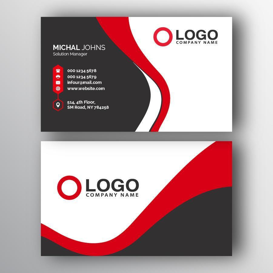 Modern Black and Red Logo Business Card vector