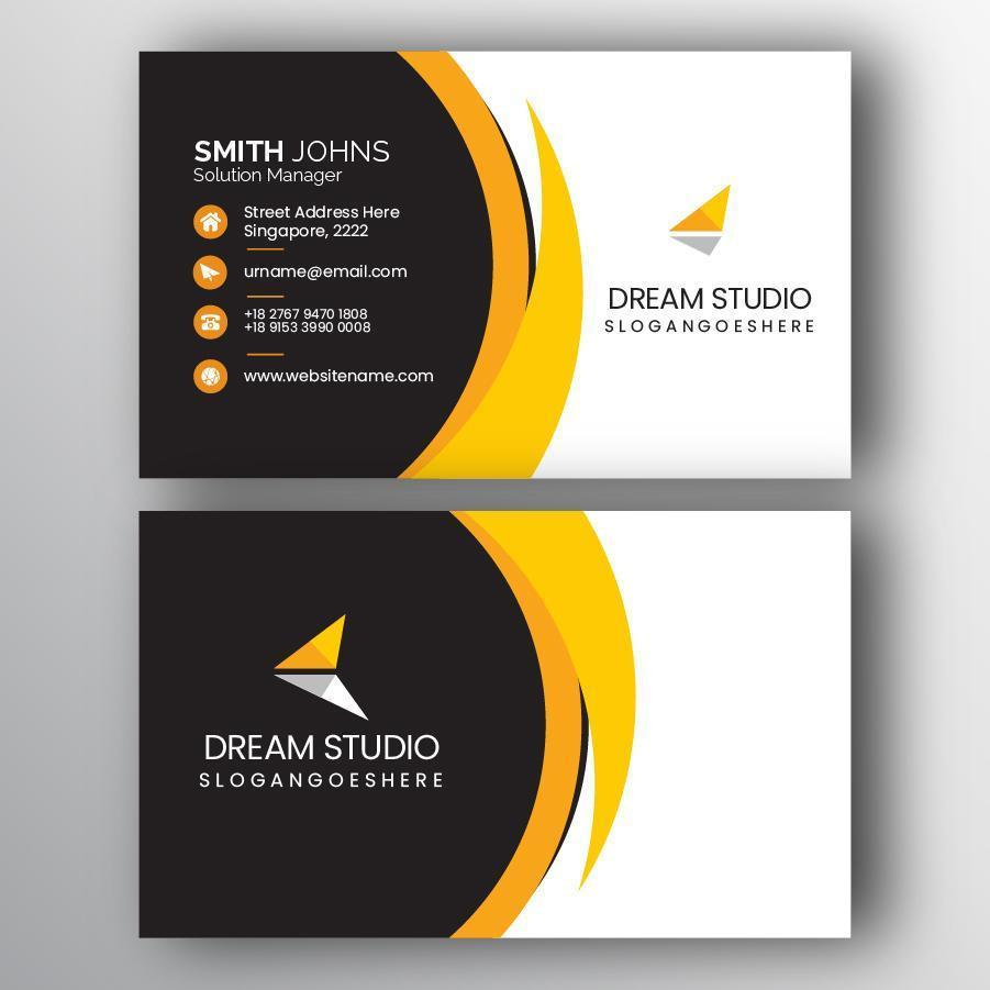 Yellow and Black Geometric Curve Business Card vector