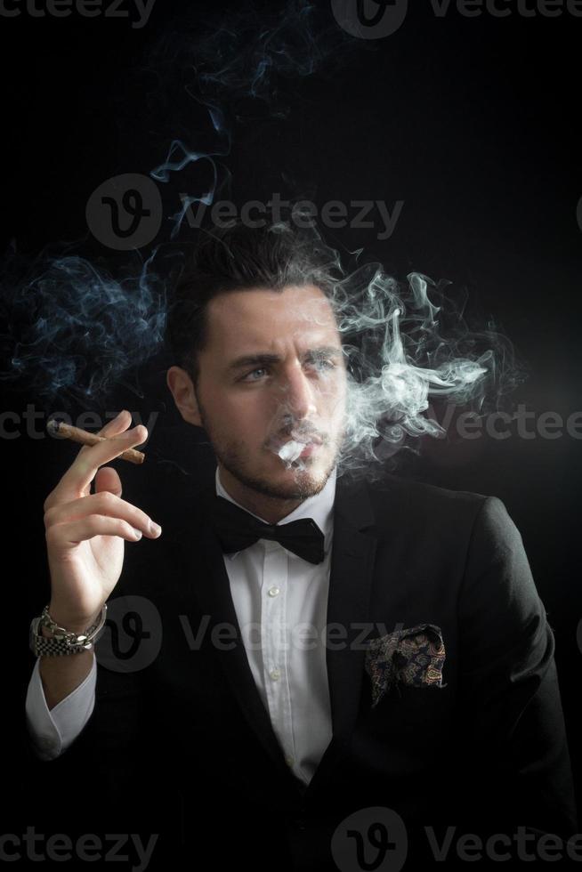 Model are smoking cigar photo