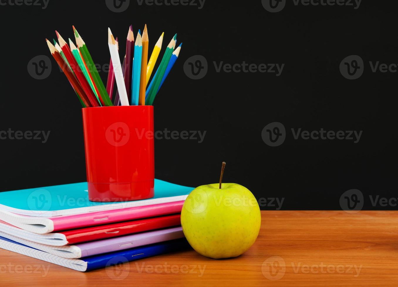 Schoolchild and student studies accessories. photo